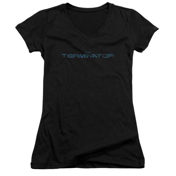 Terminator/Circuit Board Logo Junior V-Neck in Black