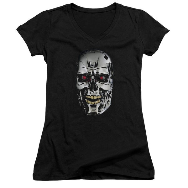 Terminator/Skull Junior V-Neck in Black