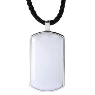 Sterling Silver 39 x 21mm White Agate Tag Pendant Nacklace.