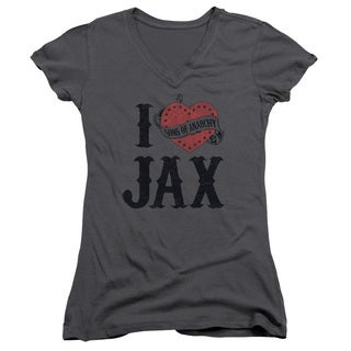 Sons Of Anarchy/I Heart Jax Junior V-Neck in Charcoal