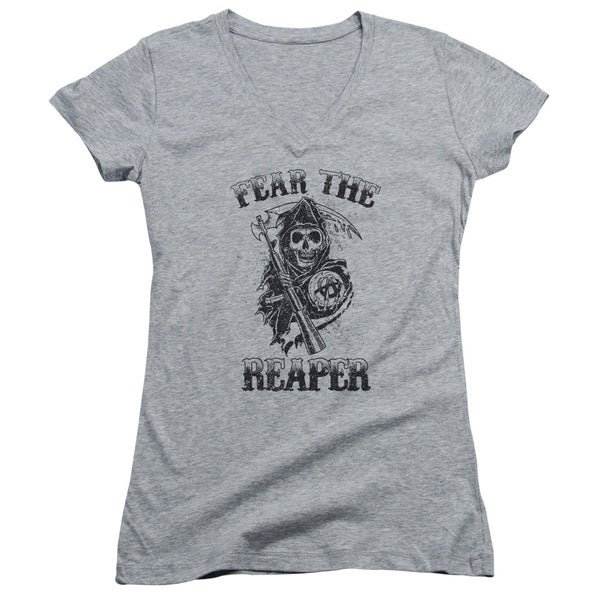 Sons Of Anarchy/Fear The Reaper Junior V-Neck in Athletic Heather