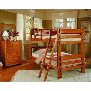 Woodcrest Heartland Pine Finish Bookcase Bunk Bed