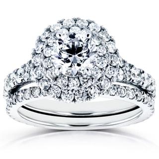 Annello 14k White Gold 2 1/3ct TDW Diamond Double Halo Cathedral Bridal Set (H-I, I1-I2)