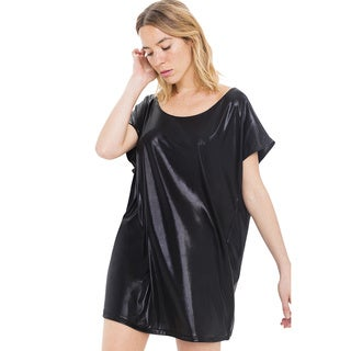 American Apparel Women's Polyester/Spandex Metallic Short Sleeve Shirt Dress