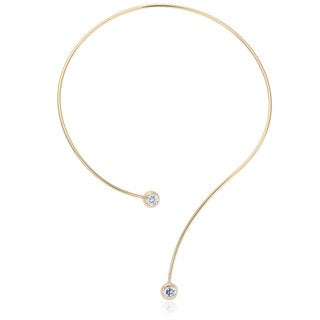Yellow Brass Gold-plated Round Cubic Zirconia Open Wire Necklace