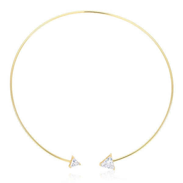 Yellow Brass Gold-plated Triangle Cubic Zirconia Open Wire Necklace