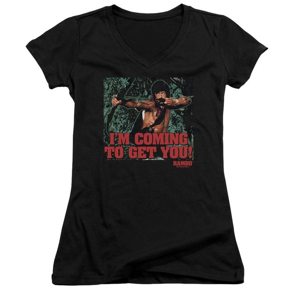 Rambo:First Blood Ii/I'M Coming Junior V-Neck in Black
