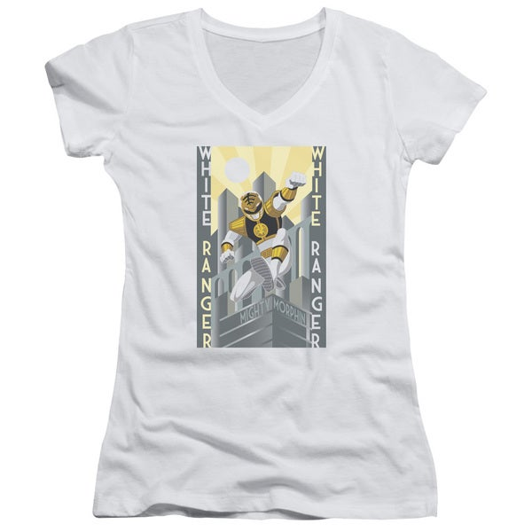 Power Rangers/White Ranger Deco Junior V-Neck in White