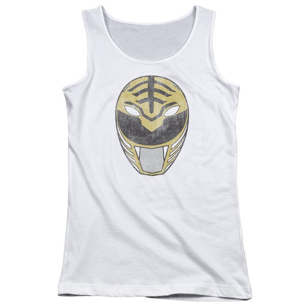 Power Rangers/White Ranger Mask Juniors Tank Top in White