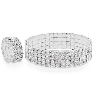 Silvertoned Simulated Diamond Bracelet and Ring Set