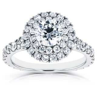 Annello 14k White Gold 2ct TDW Diamond Double Halo Cathedral Engagement Ring (H-I, I1-I2)