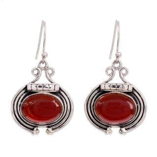 Handcrafted Sterling Silver 'Desire' Carnelian Earrings (India)