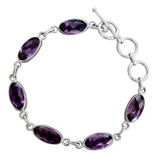 Handcrafted Sterling Silver 'Regal Violet' Amethyst Bracelet (India)