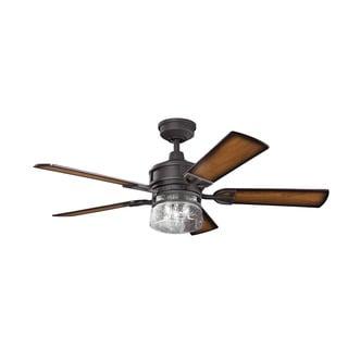 Kichler Lighting Lyndon Collection 52-inch Distressed Black Ceiling Fan w/Light