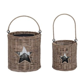 Broussar Brown Rattan Lantern Set