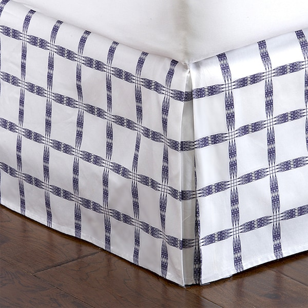 Indigo Lattice Pleated Bed Skirt