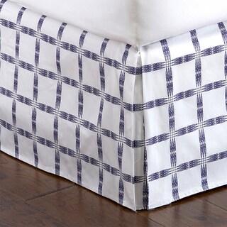 Indigo Lattice Pleated Bed Skirt