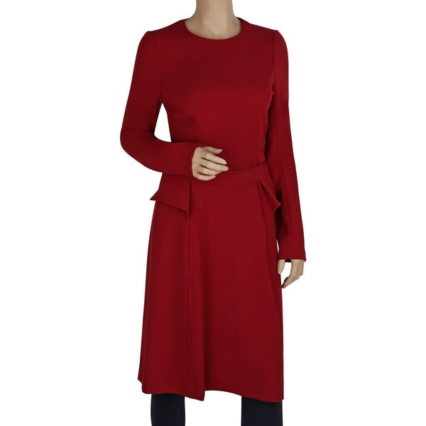 Badgley Mischka Red Elastic/Polyester/Viscose Belted Peplum Dress