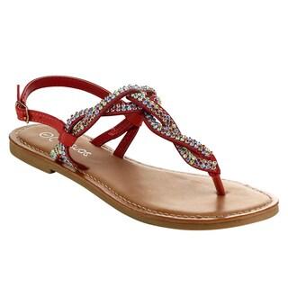 MI.IM KANZA Women's Rhinestone Slingback Thong Sandal