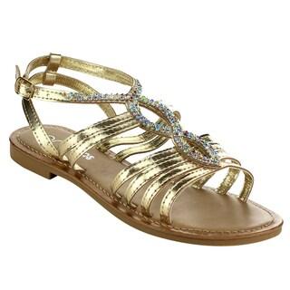 MI.IM Women's Dardani Gold/Brown Faux Leather Strappy Flat Sandals