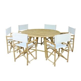 Zew Handcrafted Bamboo 7-piece Round Patio Set