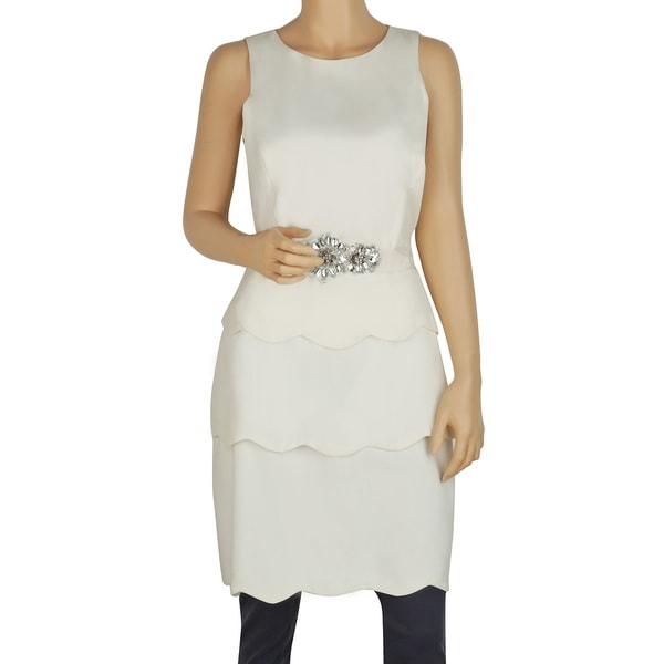 Badgley Mischka Ivory Polyester/Viscose Belted Layered Dress