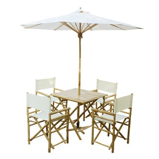 Zew Handcrafted Bamboo 6-piece Square Patio Set