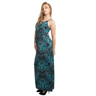 Special One Women's Cotton/Polyester Floral Side-slit Sleeveless Long Maxi Dress