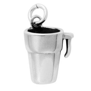Sterling Silver Antiqued 3D Coffee Mug Charm Pendant (11.5 x 12.5 mm)