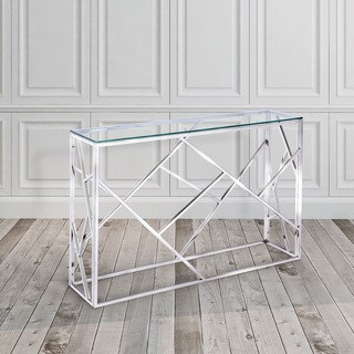 Calypso Stainless Steel Glass Console Table