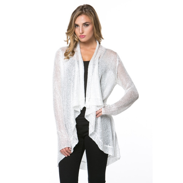 High Secret Women's Embellished White/Red Draped Neck Cardigan
