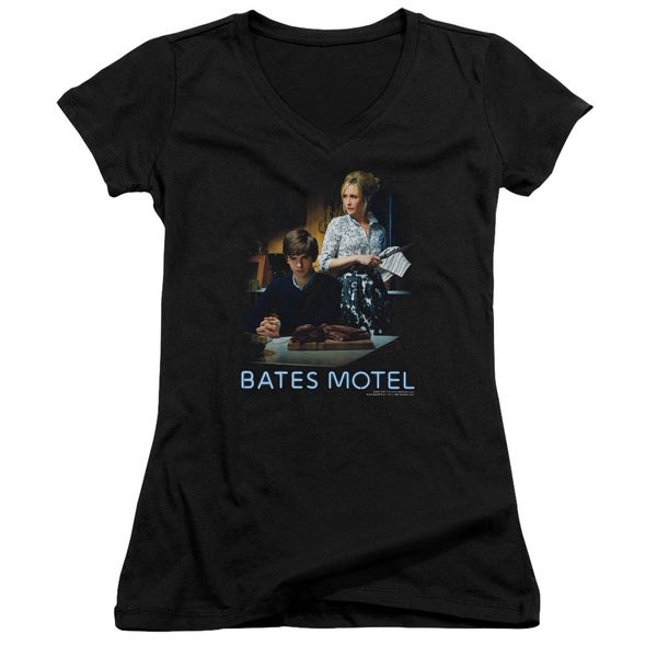 Bates Motel/Die Alone Junior V-Neck in Black