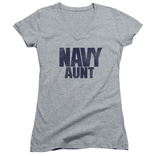 Navy/Aunt Junior V-Neck in Athletic Heather