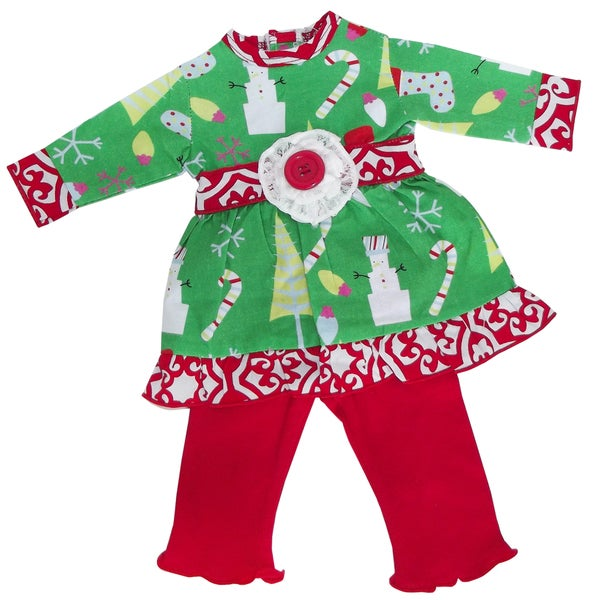 AnnLoren Green and Red Woven Christmas Doll Outfit for 18-inch Dolls
