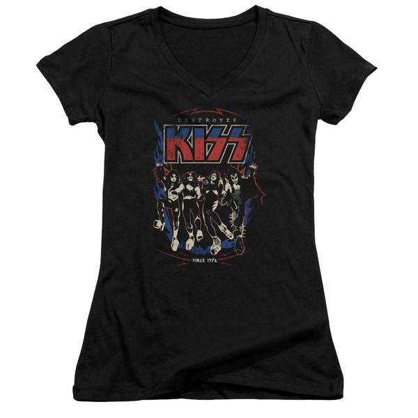 Kiss/Destroyer Junior V-Neck in Black