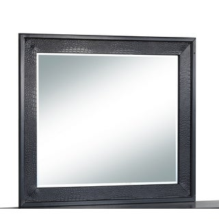 Global Faux Crocodile Black MDF Mirror