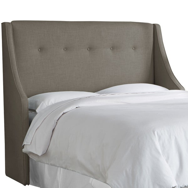 angelo:HOME Slate Linen/Polyester Button Tufted Wingback Headboard