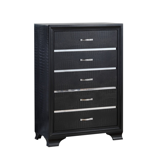 Global Black Five-Drawer Chest