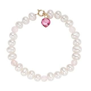 Pearlyta 14-karat Children's Freshwater Pearl and Heart Gem Bracelet