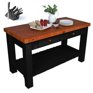 John Boos 60-inch x 28-inch Kitchen Island With Cherry Butcher Block Top CHY-GRZ6028-BK Bonus Henckels 13 PC Knife Set