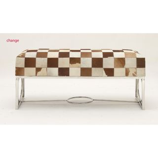 Brown/Beige Steel/Leather Hide Checker Bench