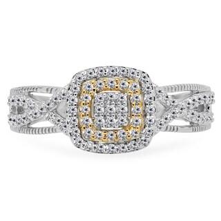 Women's 14k White/Yellow Gold 1/2k TDW Round Diamond Swirl Split Shank Bridal Cluster Engagement Ring (I-J, I1-I2)