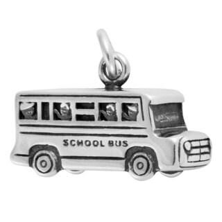 Sterling Silver Antiqued 3D School Bus Charm Pendant (11 x 18 mm)
