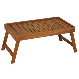 Bare Decor Coco Breakfast in Bed Solid Teak Wood Serving Tray Table/Laptop Stand
