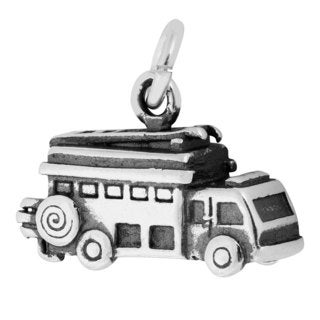 Sterling Silver Antiqued 3D Fire Truck Charm Pendant (10.5 x 15 mm)