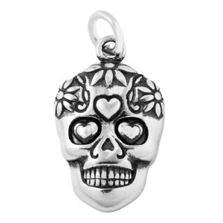 Sterling Silver Antiqued Sugar Skull Charm Pendant (16 x 11.5 mm)
