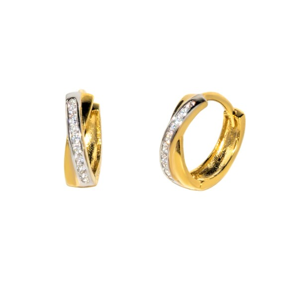 Pori 18K Gold plated or Rhodium Plated Sterling Silver Two-tone CZ Criss Cross Huggie Earrings