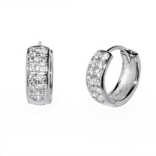 Pori 18k Gold-plated or Rhodium-plated Sterling Silver Cubic Zirconia High-polish 2-row Huggie Earrings
