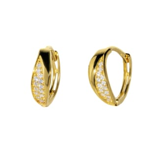 Pori 18-karat Gold-plated or Rhodium-plated Sterling Silver Cubic Zirconia Fancy Inlaid Huggie Earrings