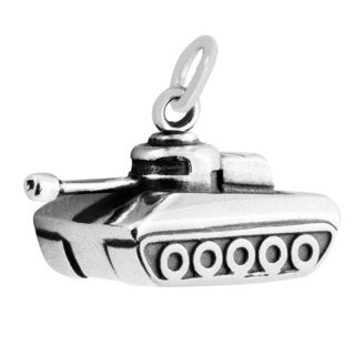 Sterling Silver Antiqued 3D Tank Charm Pendant (12 x 20 mm)